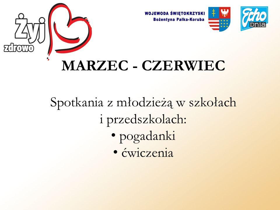 MARZEC - CZERWIEC Spotkania z młodzieżą w szkołach i przedszkolach: pogadanki ćwiczenia