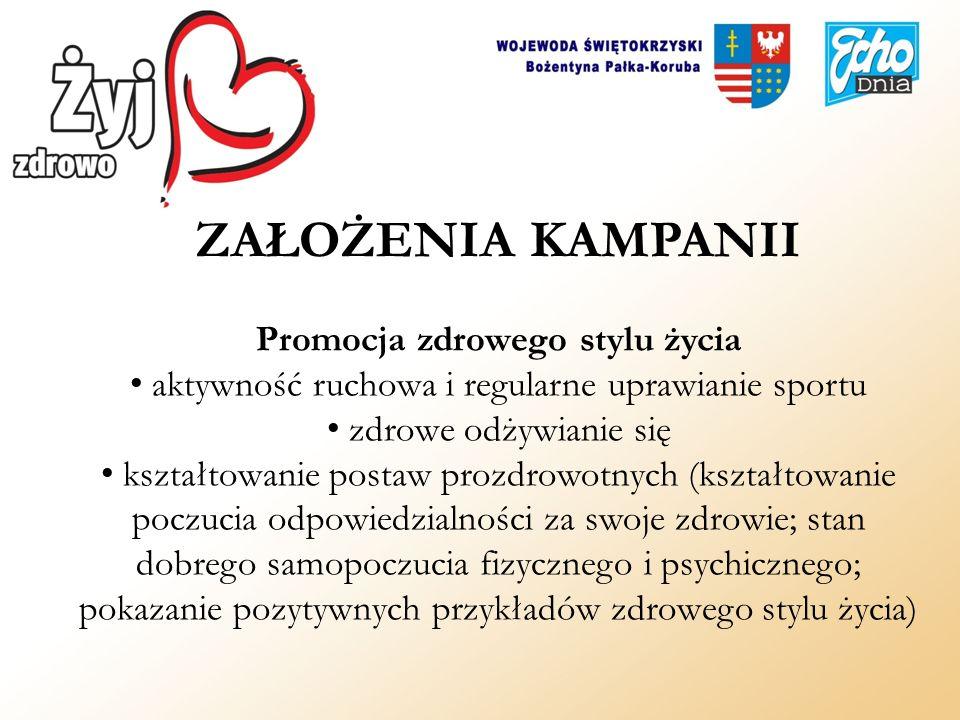 ZAŁOŻENIA KAMPANII Promocja zdrowego stylu życia aktywność ruchowa i regularne uprawianie sportu zdrowe odżywianie się kształtowanie postaw prozdrowot