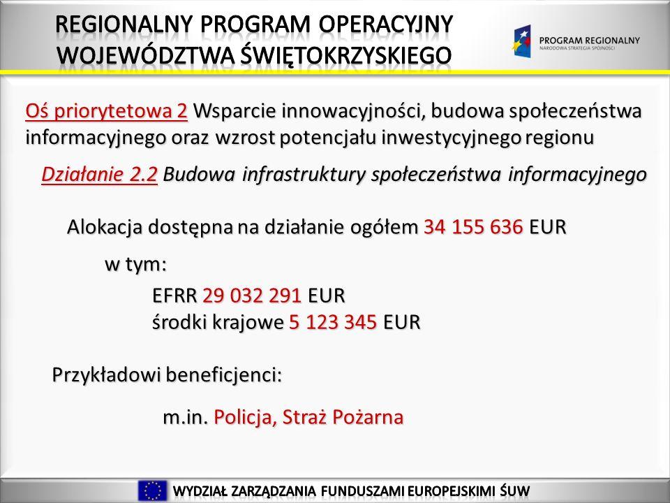 Oś priorytetowa 2 Wsparcie innowacyjności, budowa społeczeństwa informacyjnego oraz wzrost potencjału inwestycyjnego regionu Działanie 2.2 Budowa infrastruktury społeczeństwa informacyjnego Alokacja dostępna na działanie ogółem 34 155 636 EUR w tym: EFRR 29 032 291 EUR środki krajowe 5 123 345 EUR Przykładowi beneficjenci: m.in.