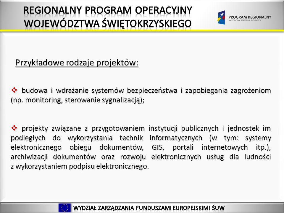 Przykładowe rodzaje projektów: budowa i wdrażanie systemów bezpieczeństwa i zapobiegania zagrożeniom (np.