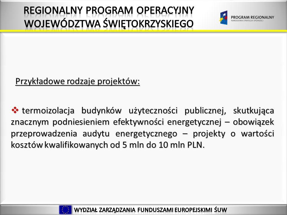 Przykładowe rodzaje projektów: termoizolacja budynków użyteczności publicznej, skutkująca znacznym podniesieniem efektywności energetycznej – obowiązek przeprowadzenia audytu energetycznego – projekty o wartości kosztów kwalifikowanych od 5 mln do 10 mln PLN.