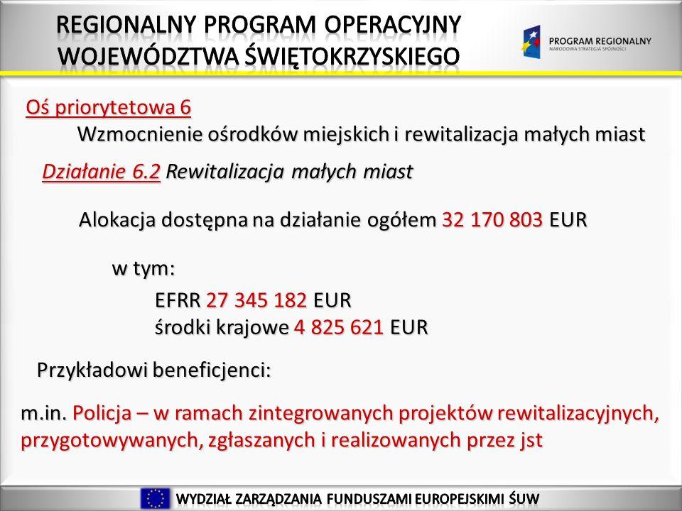 Oś priorytetowa 6 Wzmocnienie ośrodków miejskich i rewitalizacja małych miast Wzmocnienie ośrodków miejskich i rewitalizacja małych miast Działanie 6.2 Rewitalizacja małych miast Alokacja dostępna na działanie ogółem 32 170 803 EUR w tym: EFRR 27 345 182 EUR środki krajowe 4 825 621 EUR Przykładowi beneficjenci: m.in.