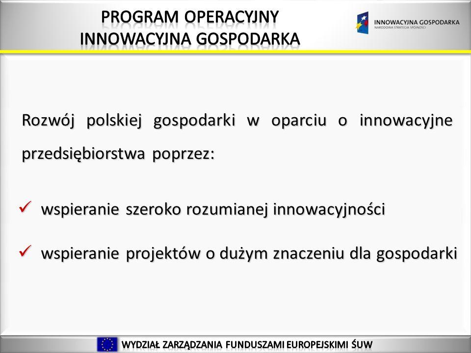 19 Rozwój polskiej gospodarki w oparciu o innowacyjne przedsiębiorstwa poprzez: wspieranie szeroko rozumianej innowacyjności wspieranie szeroko rozumianej innowacyjności wspieranie projektów o dużym znaczeniu dla gospodarki wspieranie projektów o dużym znaczeniu dla gospodarki