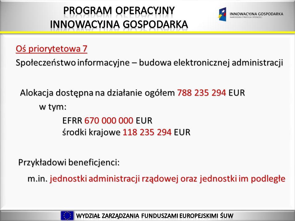 22 Alokacja dostępna na działanie ogółem 788 235 294 EUR Oś priorytetowa 7 Społeczeństwo informacyjne – budowa elektronicznej administracji EFRR 670 000 000 EUR środki krajowe 118 235 294 EUR w tym: Przykładowi beneficjenci: m.in.