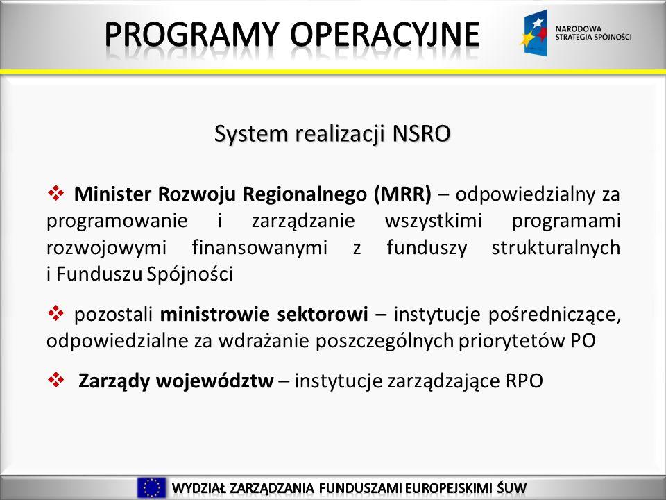 Minister Rozwoju Regionalnego (MRR) – odpowiedzialny za programowanie i zarządzanie wszystkimi programami rozwojowymi finansowanymi z funduszy strukturalnych i Funduszu Spójności pozostali ministrowie sektorowi – instytucje pośredniczące, odpowiedzialne za wdrażanie poszczególnych priorytetów PO Zarządy województw – instytucje zarządzające RPO System realizacji NSRO
