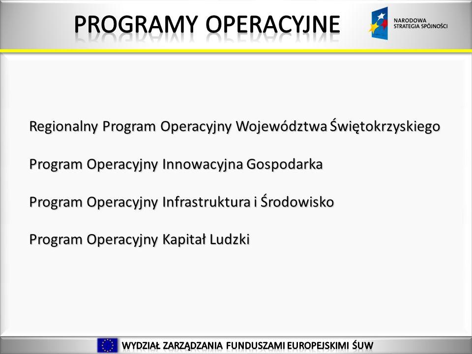 Regionalny Program Operacyjny Województwa Świętokrzyskiego Program Operacyjny Innowacyjna Gospodarka Program Operacyjny Infrastruktura i Środowisko Program Operacyjny Kapitał Ludzki