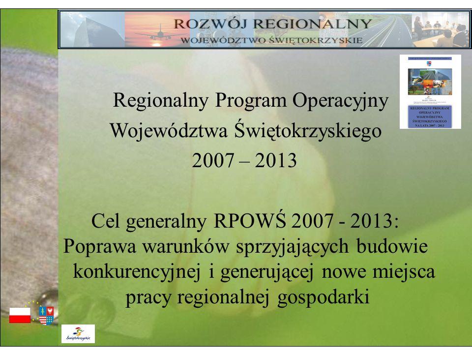 Regionalny Program Operacyjny Województwa Świętokrzyskiego 2007 – 2013 Cel generalny RPOWŚ 2007 - 2013: Poprawa warunków sprzyjających budowie konkure