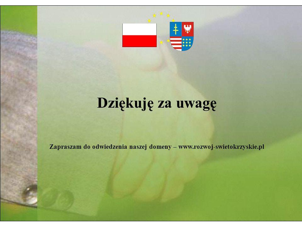 Dziękuję za uwagę Zapraszam do odwiedzenia naszej domeny – www.rozwoj-swietokrzyskie.pl