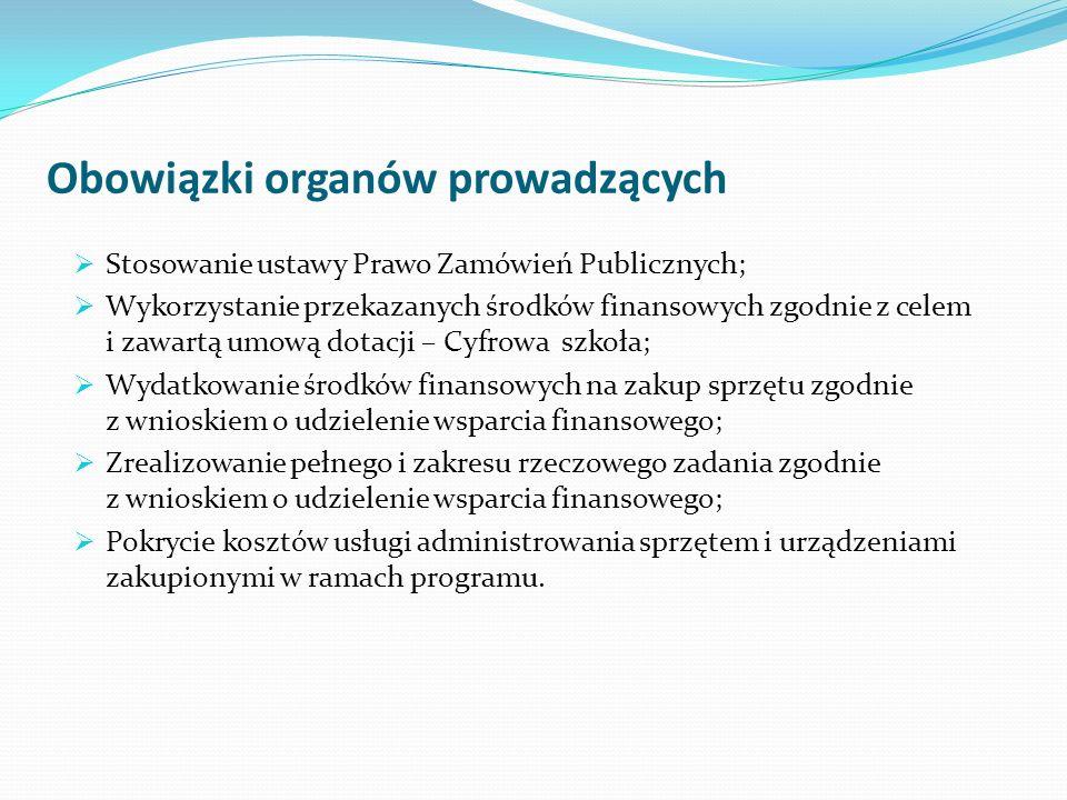Obowiązki organów prowadzących Stosowanie ustawy Prawo Zamówień Publicznych; Wykorzystanie przekazanych środków finansowych zgodnie z celem i zawartą
