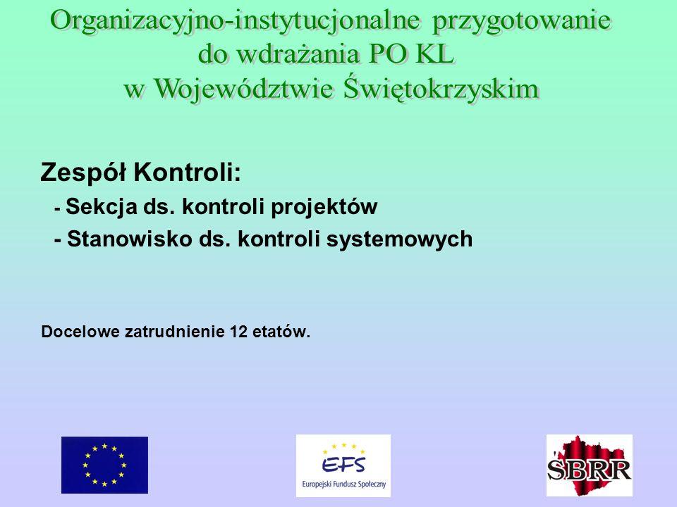 Zespół Kontroli: - Sekcja ds. kontroli projektów - Stanowisko ds. kontroli systemowych Docelowe zatrudnienie 12 etatów.