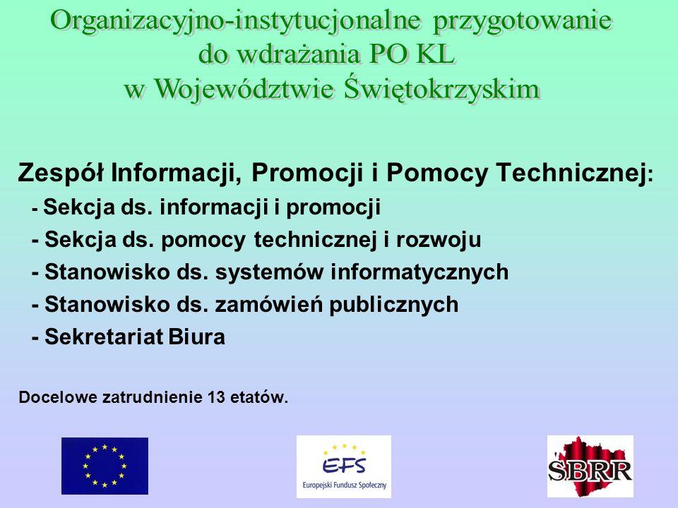 Zespół Informacji, Promocji i Pomocy Technicznej : - Sekcja ds. informacji i promocji - Sekcja ds. pomocy technicznej i rozwoju - Stanowisko ds. syste