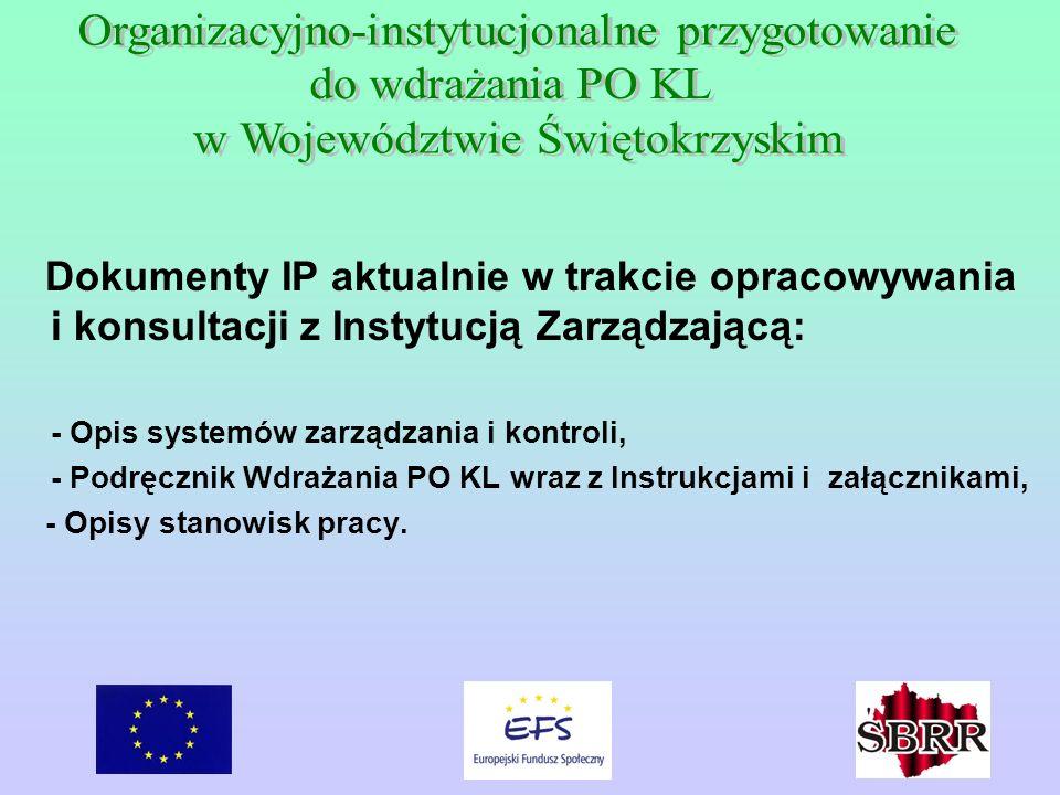 Dokumenty IP aktualnie w trakcie opracowywania i konsultacji z Instytucją Zarządzającą: - Opis systemów zarządzania i kontroli, - Podręcznik Wdrażania PO KL wraz z Instrukcjami i załącznikami, - Opisy stanowisk pracy.