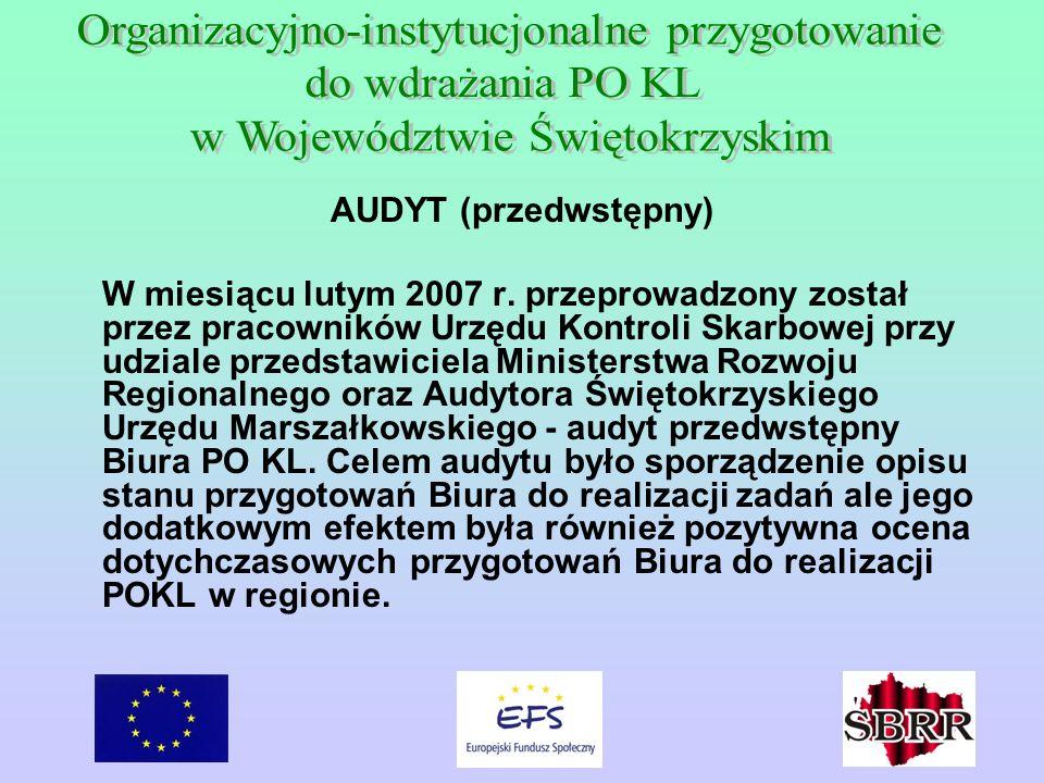 AUDYT (przedwstępny) W miesiącu lutym 2007 r. przeprowadzony został przez pracowników Urzędu Kontroli Skarbowej przy udziale przedstawiciela Ministers
