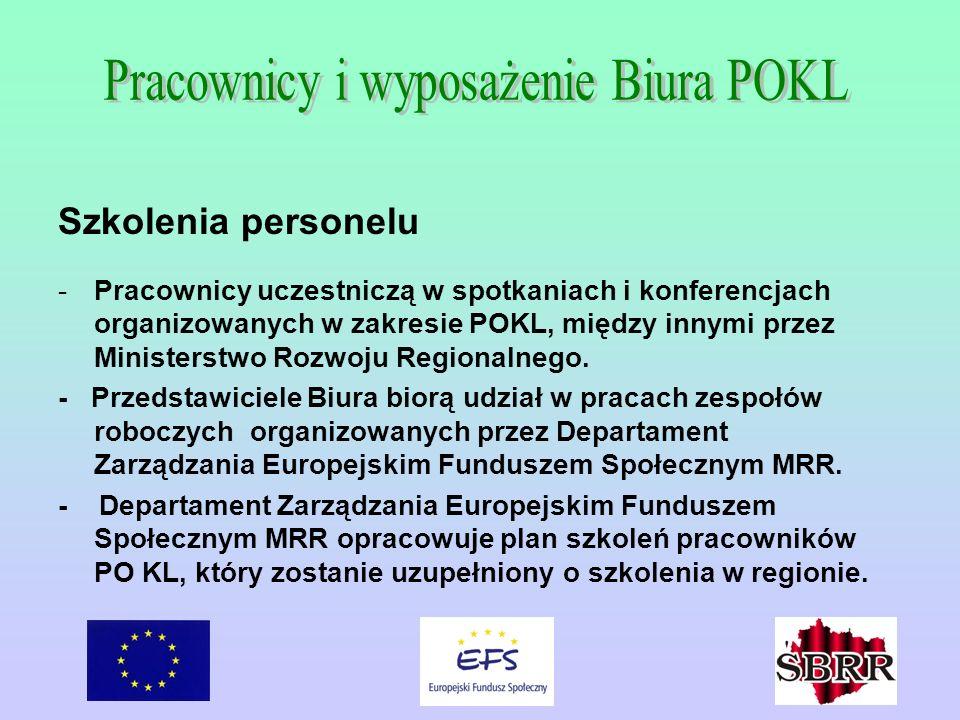 Szkolenia personelu -Pracownicy uczestniczą w spotkaniach i konferencjach organizowanych w zakresie POKL, między innymi przez Ministerstwo Rozwoju Reg
