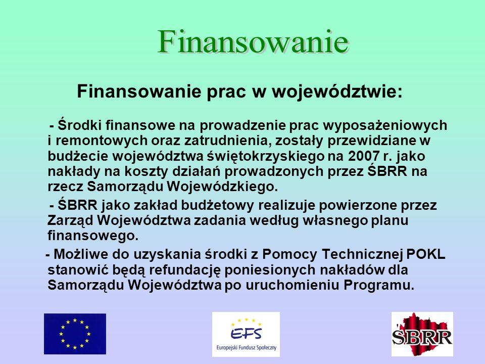 Finansowanie prac w województwie: - Środki finansowe na prowadzenie prac wyposażeniowych i remontowych oraz zatrudnienia, zostały przewidziane w budżecie województwa świętokrzyskiego na 2007 r.