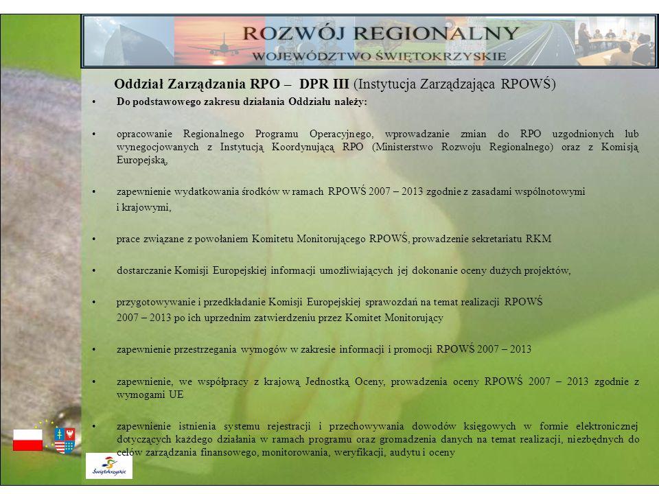 Oddział Zarządzania RPO – DPR III (Instytucja Zarządzająca RPOWŚ) Do podstawowego zakresu działania Oddziału należy: opracowanie Regionalnego Programu