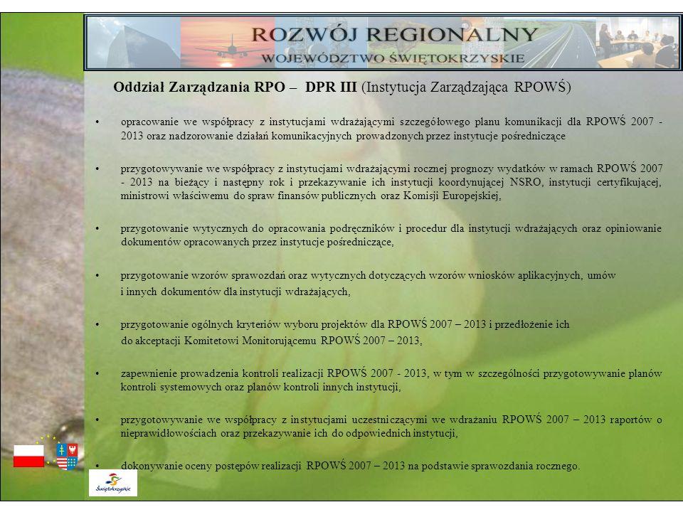 Oddział Zarządzania RPO – DPR III (Instytucja Zarządzająca RPOWŚ) opracowanie we współpracy z instytucjami wdrażającymi szczegółowego planu komunikacj