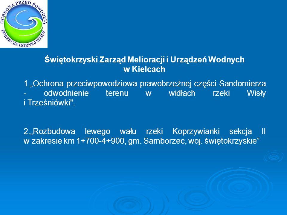 Świętokrzyski Zarząd Melioracji i Urządzeń Wodnych w Kielcach 1.Ochrona przeciwpowodziowa prawobrzeżnej części Sandomierza - odwodnienie terenu w widł