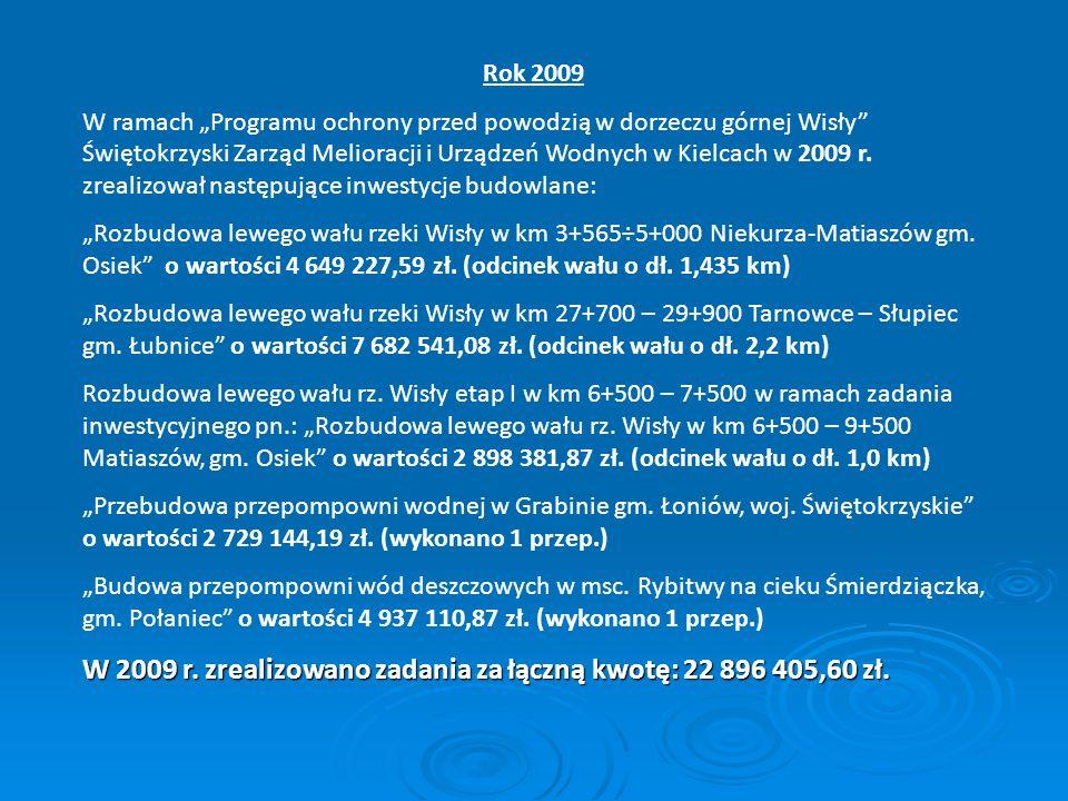 Rok 2009 W ramach Programu ochrony przed powodzią w dorzeczu górnej Wisły Świętokrzyski Zarząd Melioracji i Urządzeń Wodnych w Kielcach w 2009 r. zrea
