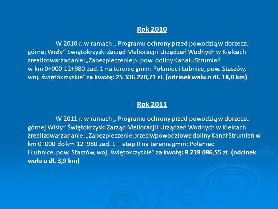 Rok 2010 W 2010 r. w ramach Programu ochrony przed powodzią w dorzeczu górnej Wisły Świętokrzyski Zarząd Melioracji i Urządzeń Wodnych w Kielcach zrea