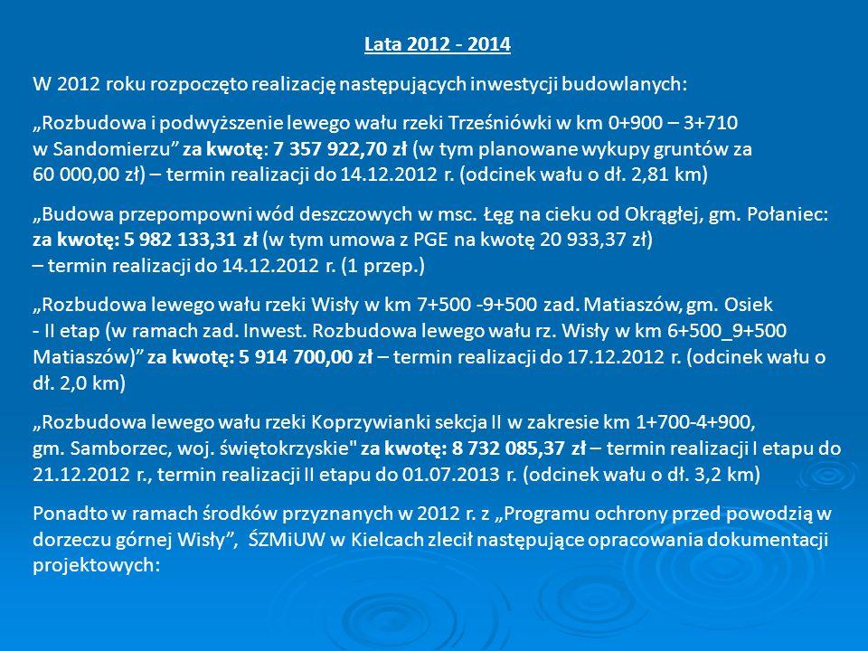 Lata 2012 - 2014 W 2012 roku rozpoczęto realizację następujących inwestycji budowlanych: Rozbudowa i podwyższenie lewego wału rzeki Trześniówki w km 0