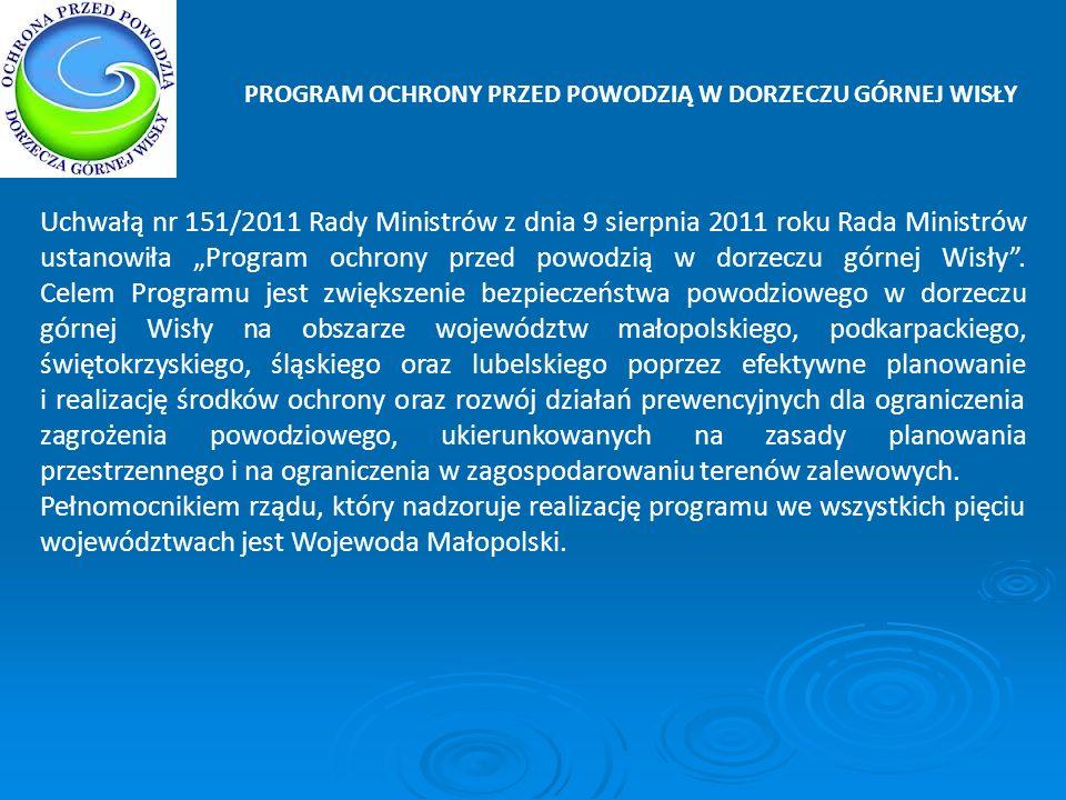 PROGRAM OCHRONY PRZED POWODZIĄ W DORZECZU GÓRNEJ WISŁY Uchwałą nr 151/2011 Rady Ministrów z dnia 9 sierpnia 2011 roku Rada Ministrów ustanowiła Progra