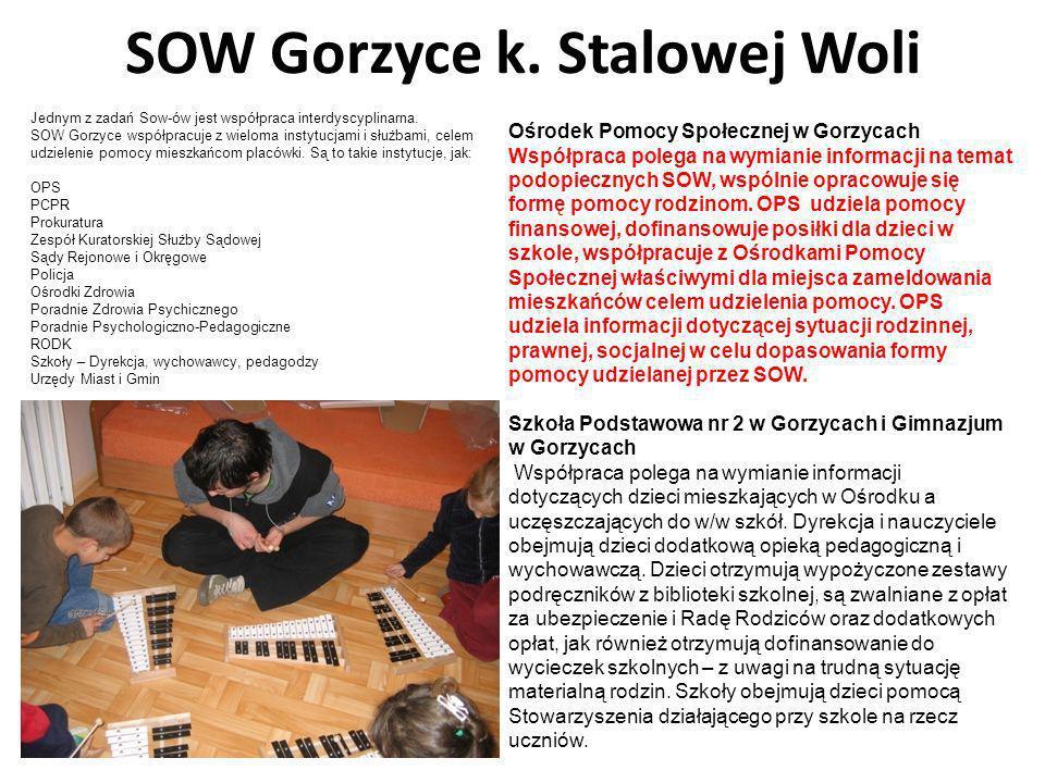 SOW Gorzyce k. Stalowej Woli Ośrodek Pomocy Społecznej w Gorzycach Współpraca polega na wymianie informacji na temat podopiecznych SOW, wspólnie oprac