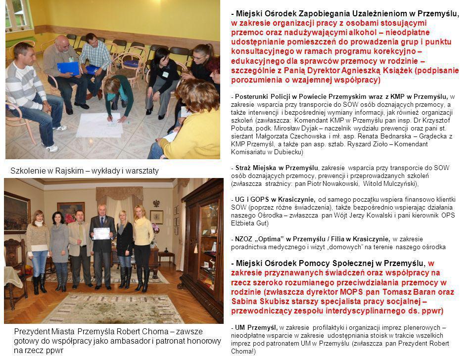 - Miejski Ośrodek Zapobiegania Uzależnieniom w Przemyślu, w zakresie organizacji pracy z osobami stosującymi przemoc oraz nadużywającymi alkohol – nie