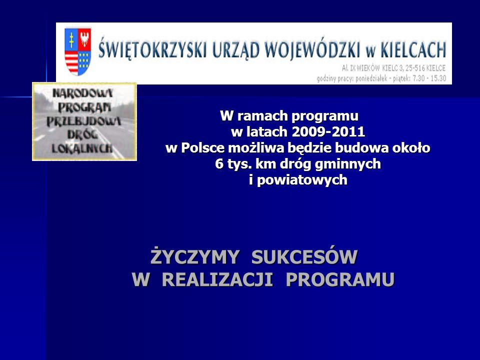 W ramach programu w latach 2009-2011 w Polsce możliwa będzie budowa około 6 tys. km dróg gminnych i powiatowych ŻYCZYMY SUKCESÓW W REALIZACJI PROGRAMU