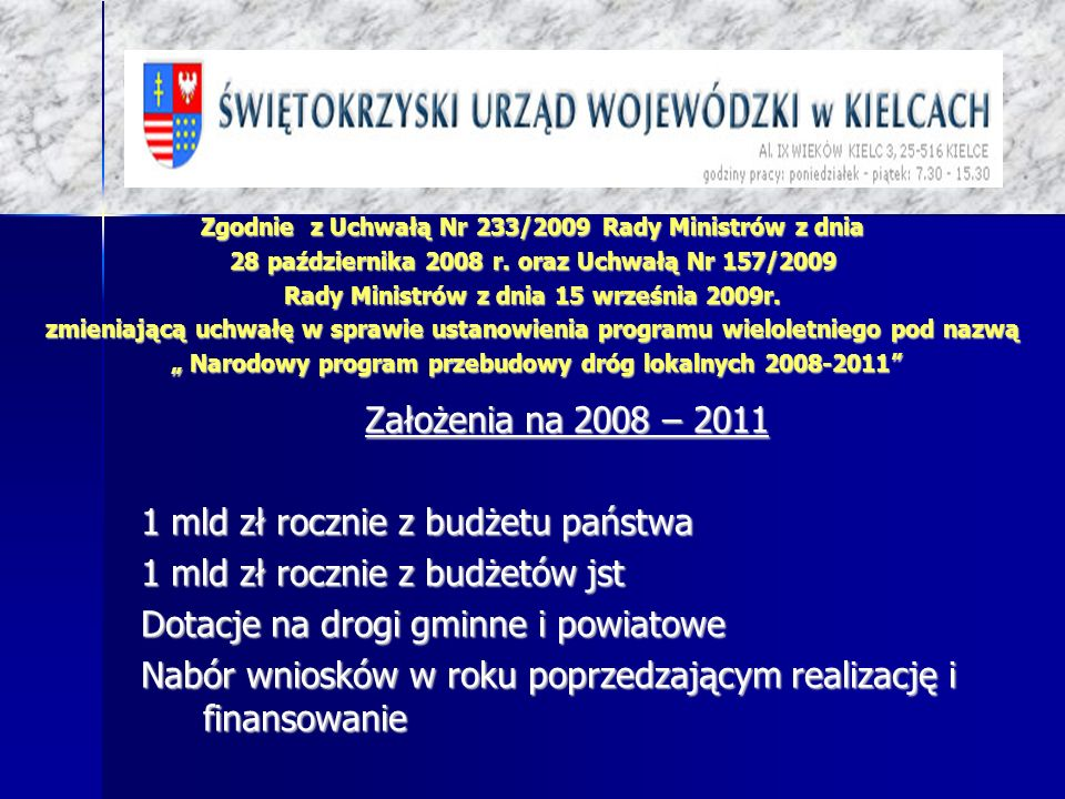 Zgodnie z Uchwałą Nr 233/2009 Rady Ministrów z dnia 28 października 2008 r. oraz Uchwałą Nr 157/2009 Rady Ministrów z dnia 15 września 2009r. zmieniaj