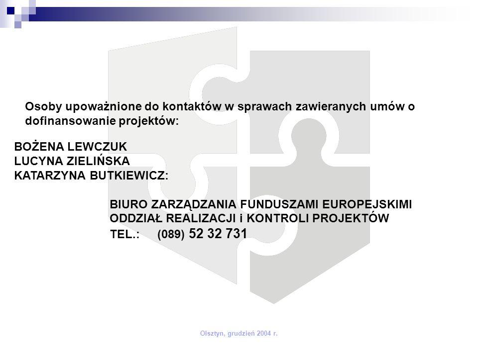 Olsztyn, grudzień 2004 r. Osoby upoważnione do kontaktów w sprawach zawieranych umów o dofinansowanie projektów: BOŻENA LEWCZUK LUCYNA ZIELIŃSKA KATAR