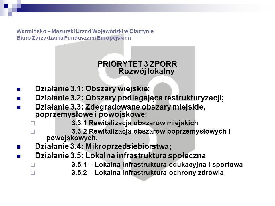 Warmińsko – Mazurski Urząd Wojewódzki w Olsztynie Biuro Zarządzania Funduszami Europejskimi PRIORYTET 3 ZPORR Rozwój lokalny Działanie 3.1: Obszary wiejskie; Działanie 3.2: Obszary podlegające restrukturyzacji; Działanie 3.3: Zdegradowane obszary miejskie, poprzemysłowe i powojskowe; 3.3.1 Rewitalizacja obszarów miejskich 3.3.2 Rewitalizacja obszarów poprzemysłowych i powojskowych.