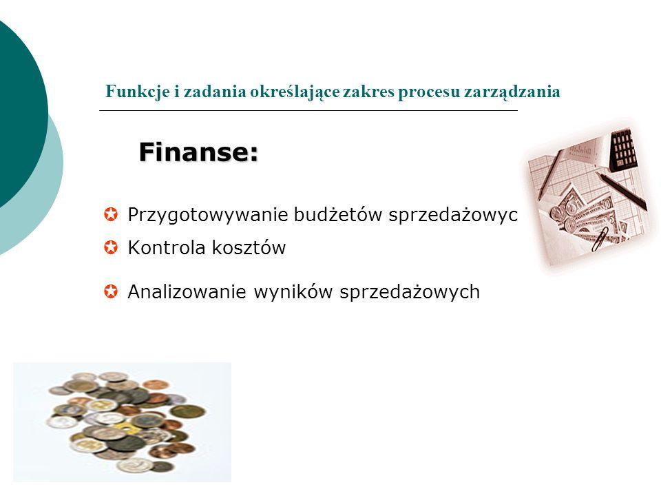 Funkcje i zadania określające zakres procesu zarządzania Finanse: Finanse: Przygotowywanie budżetów sprzedażowych Kontrola kosztów Analizowanie wynikó