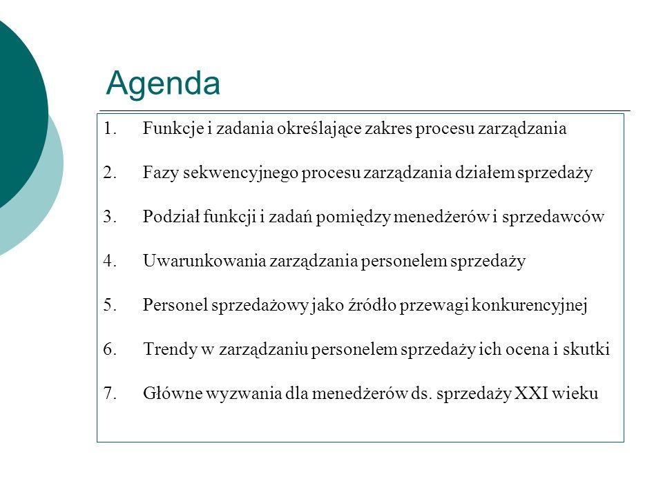 Agenda 1.Funkcje i zadania określające zakres procesu zarządzania 2.Fazy sekwencyjnego procesu zarządzania działem sprzedaży 3.Podział funkcji i zadań