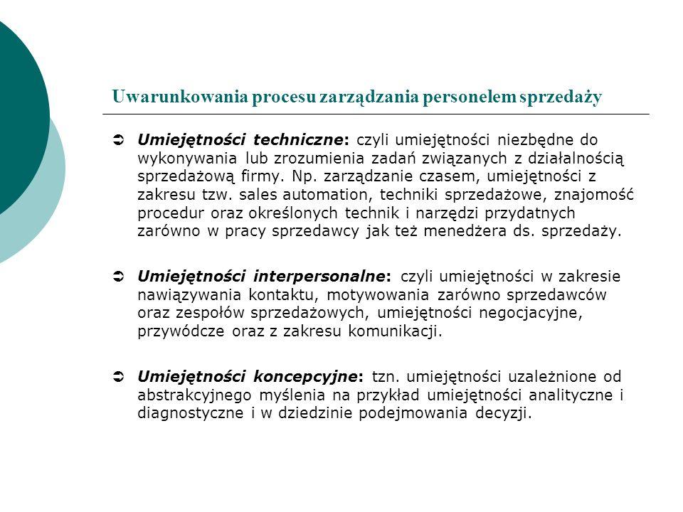 Uwarunkowania procesu zarządzania personelem sprzedaży Umiejętności techniczne: czyli umiejętności niezbędne do wykonywania lub zrozumienia zadań zwią