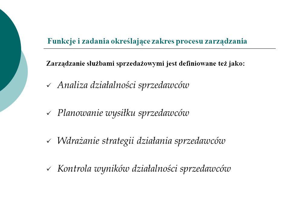 Funkcje i zadania określające zakres procesu zarządzania Zarządzanie służbami sprzedażowymi jest definiowane też jako: Analiza działalności sprzedawcó