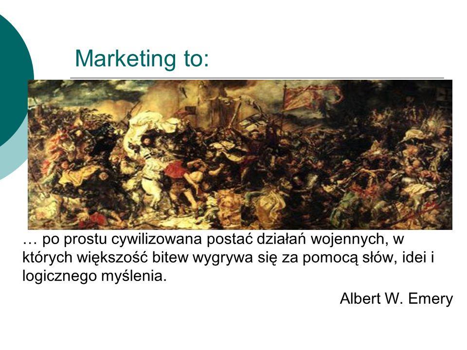 Marketing to: … po prostu cywilizowana postać działań wojennych, w których większość bitew wygrywa się za pomocą słów, idei i logicznego myślenia. Alb
