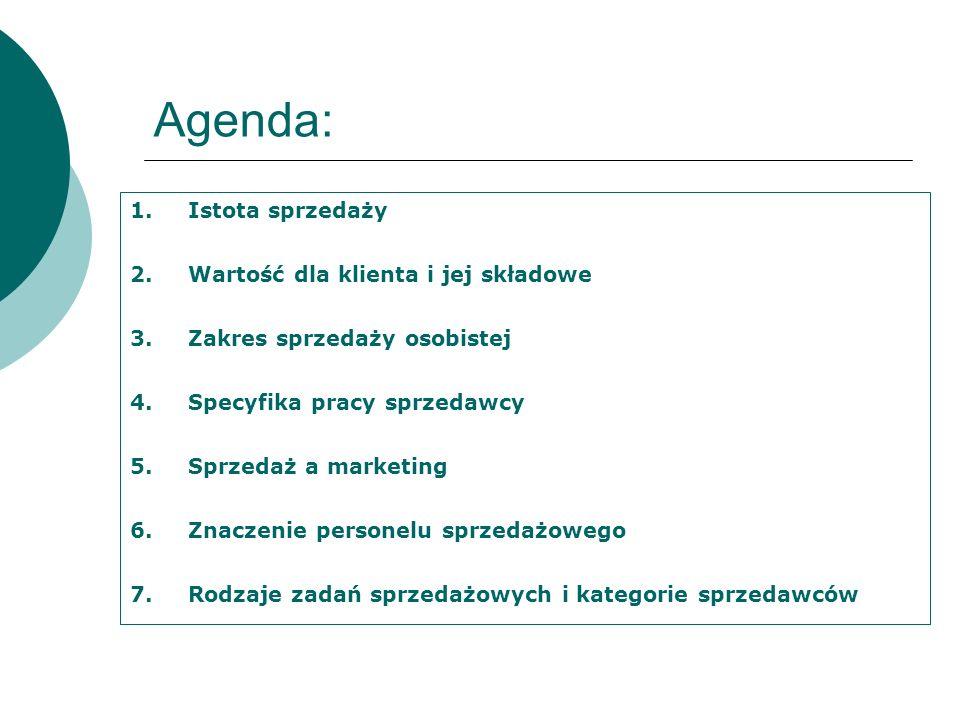 Agenda: 1.Istota sprzedaży 2.Wartość dla klienta i jej składowe 3.Zakres sprzedaży osobistej 4.Specyfika pracy sprzedawcy 5.Sprzedaż a marketing 6.Zna