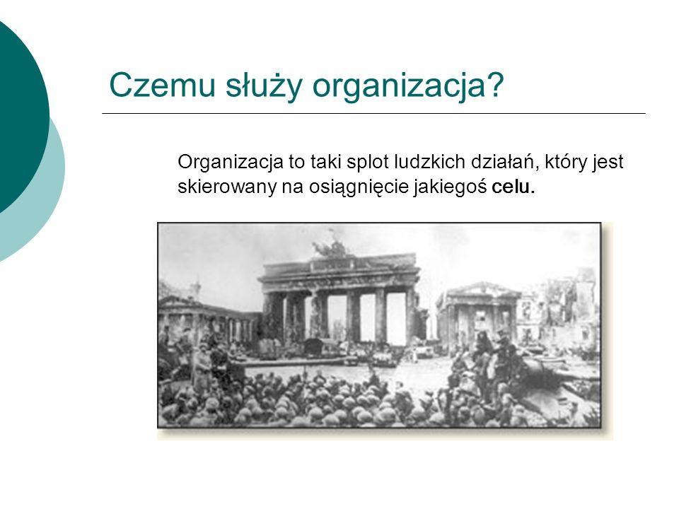 Czemu służy organizacja? Organizacja to taki splot ludzkich działań, który jest skierowany na osiągnięcie jakiegoś celu.