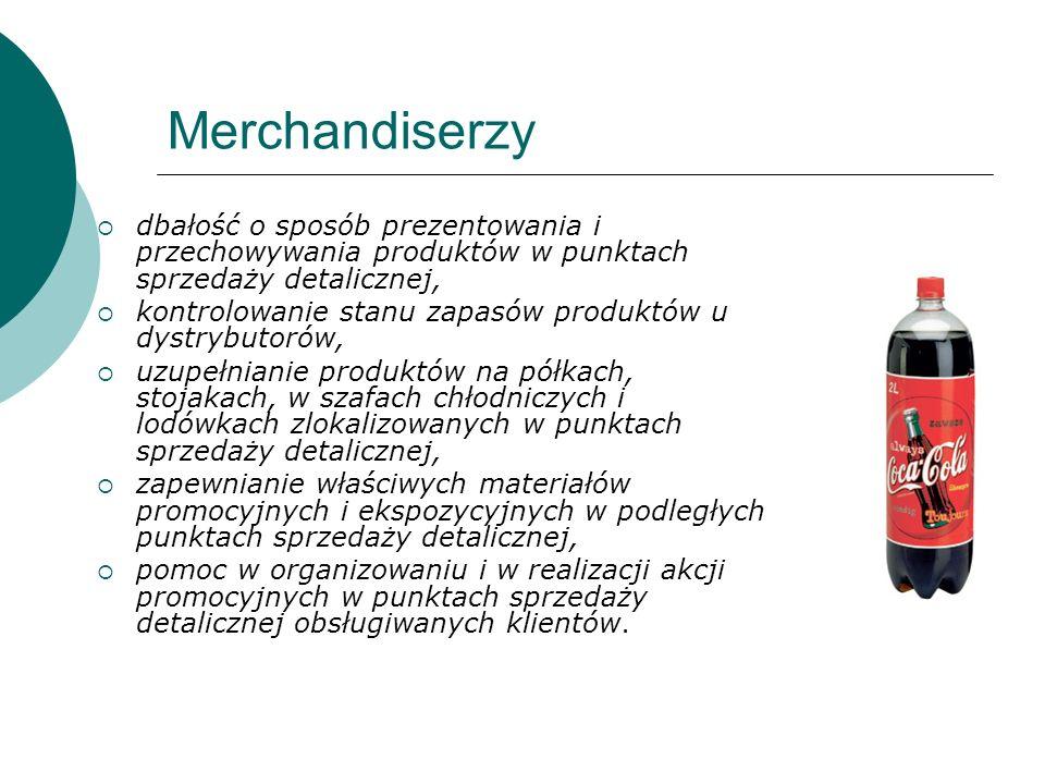 Merchandiserzy dbałość o sposób prezentowania i przechowywania produktów w punktach sprzedaży detalicznej, kontrolowanie stanu zapasów produktów u dys