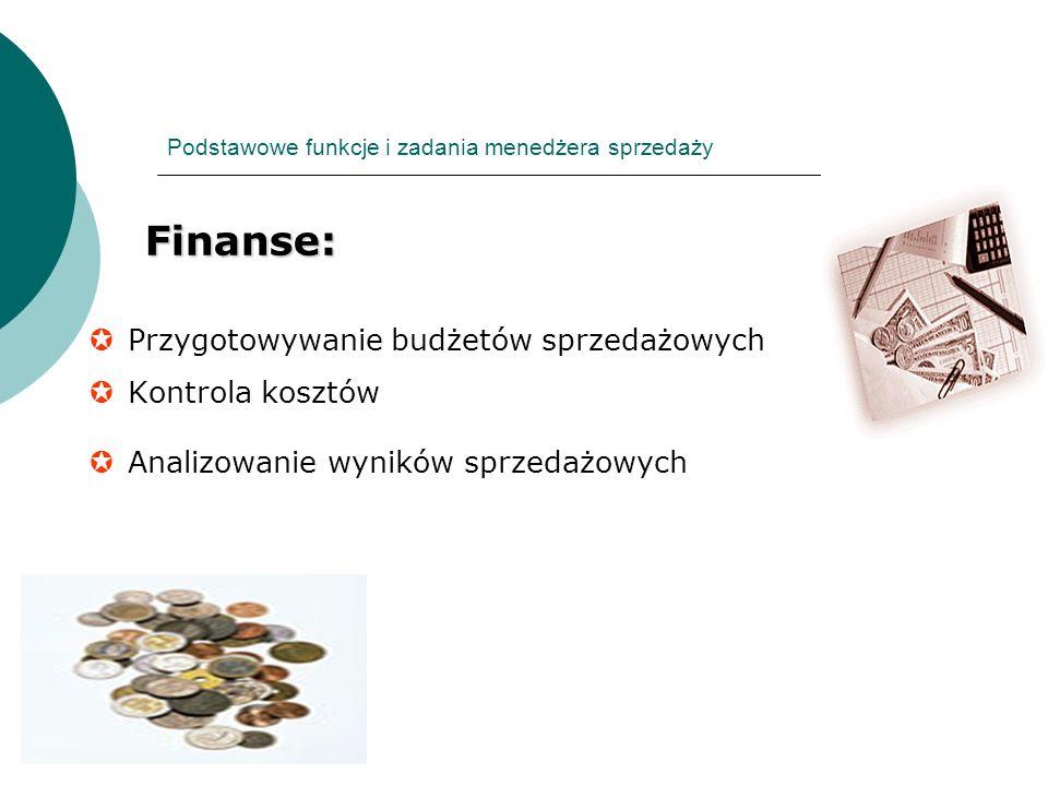 Podstawowe funkcje i zadania menedżera sprzedaży Finanse: Finanse: Przygotowywanie budżetów sprzedażowych Kontrola kosztów Analizowanie wyników sprzed