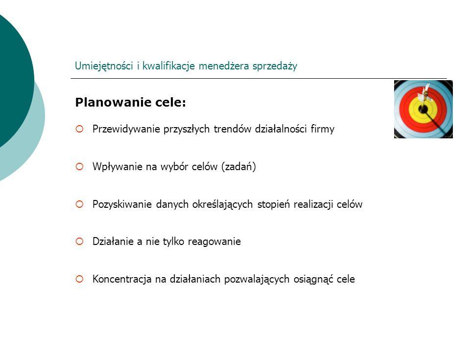 Umiejętności i kwalifikacje menedżera sprzedaży Planowanie cele: Przewidywanie przyszłych trendów działalności firmy Wpływanie na wybór celów (zadań)