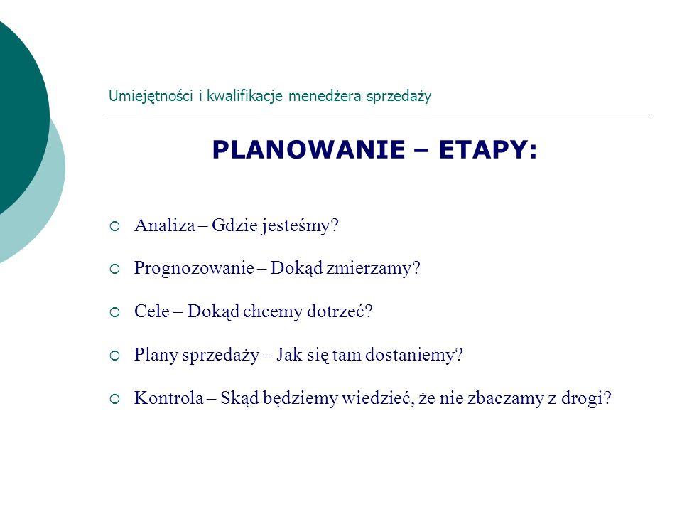 Umiejętności i kwalifikacje menedżera sprzedaży PLANOWANIE – ETAPY: Analiza – Gdzie jesteśmy? Prognozowanie – Dokąd zmierzamy? Cele – Dokąd chcemy dot