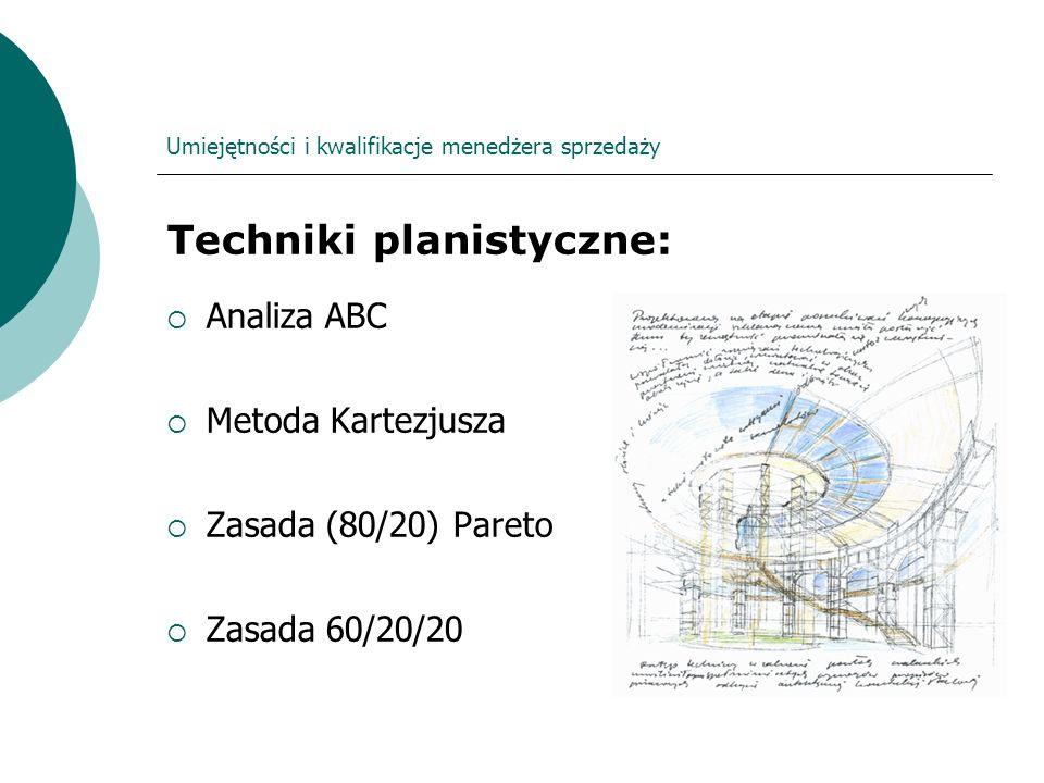 Umiejętności i kwalifikacje menedżera sprzedaży Techniki planistyczne: Analiza ABC Metoda Kartezjusza Zasada (80/20) Pareto Zasada 60/20/20