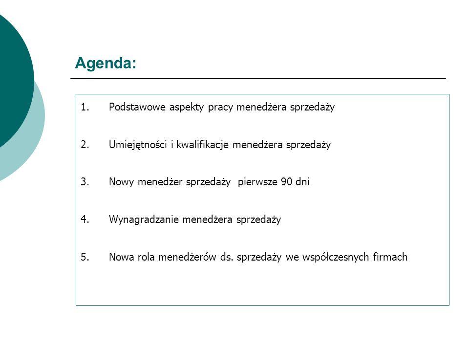 Agenda: 1.Podstawowe aspekty pracy menedżera sprzedaży 2.Umiejętności i kwalifikacje menedżera sprzedaży 3.Nowy menedżer sprzedaży pierwsze 90 dni 4.W