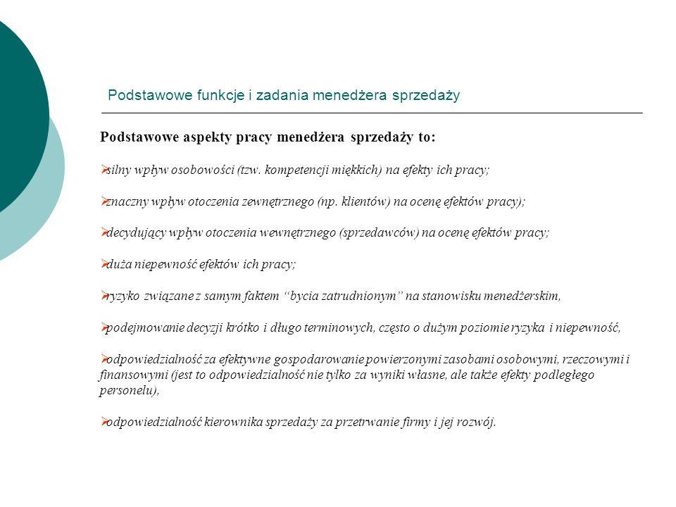 Podstawowe funkcje i zadania menedżera sprzedaży Podstawowe aspekty pracy menedżera sprzedaży to: silny wpływ osobowości (tzw. kompetencji miękkich) n