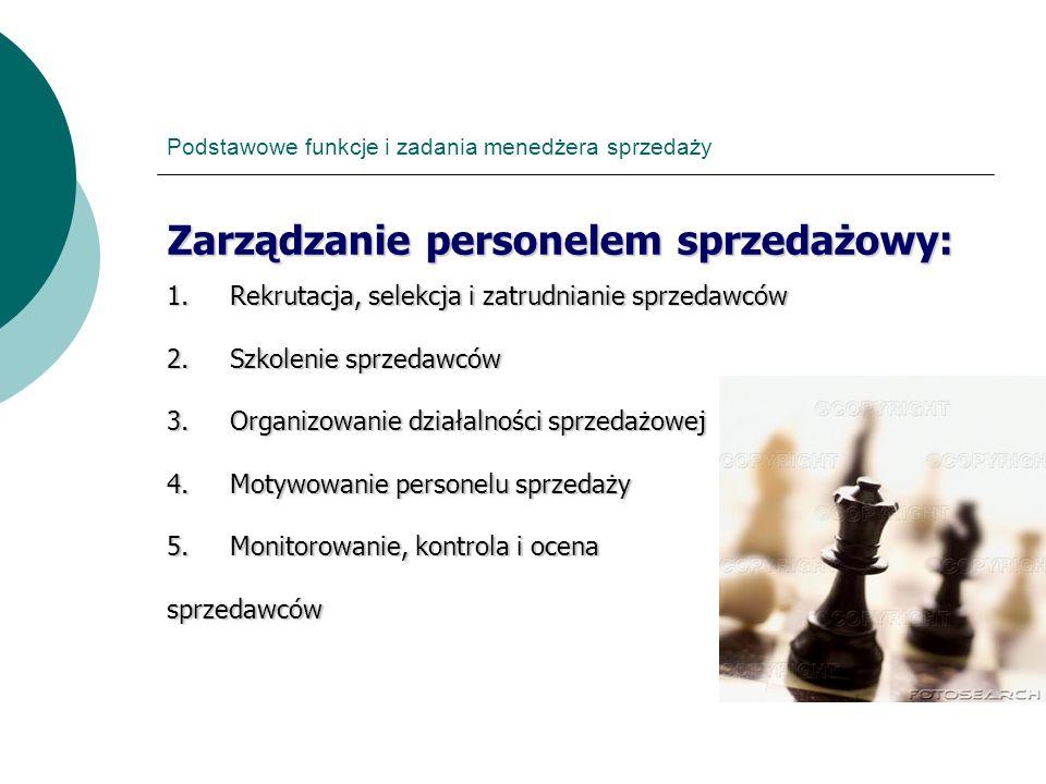 Podstawowe funkcje i zadania menedżera sprzedaży Zarządzanie personelem sprzedażowy: 1.Rekrutacja, selekcja i zatrudnianie sprzedawców 2.Szkolenie spr