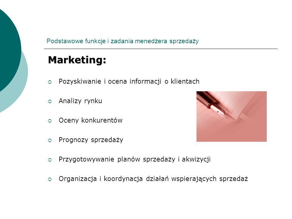 Podstawowe funkcje i zadania menedżera sprzedaży Marketing: Pozyskiwanie i ocena informacji o klientach Analizy rynku Oceny konkurentów Prognozy sprze