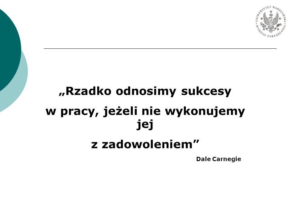 Rzadko odnosimy sukcesy w pracy, jeżeli nie wykonujemy jej z zadowoleniem Dale Carnegie