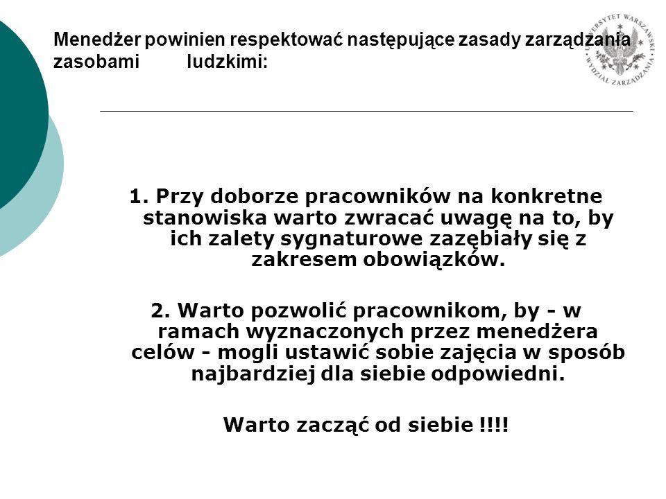 Menedżer powinien respektować następujące zasady zarządzania zasobami ludzkimi: 1. Przy doborze pracowników na konkretne stanowiska warto zwracać uwag